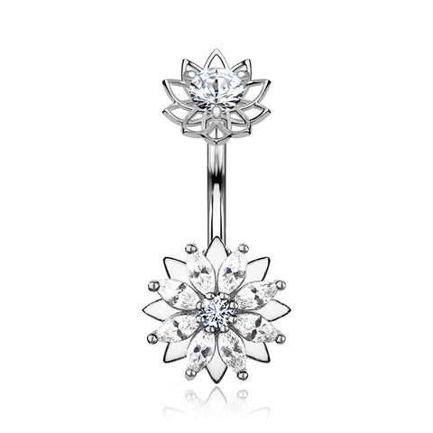 Marquise Sparkle Flower Internally Threaded Belly Button Ring-Clear