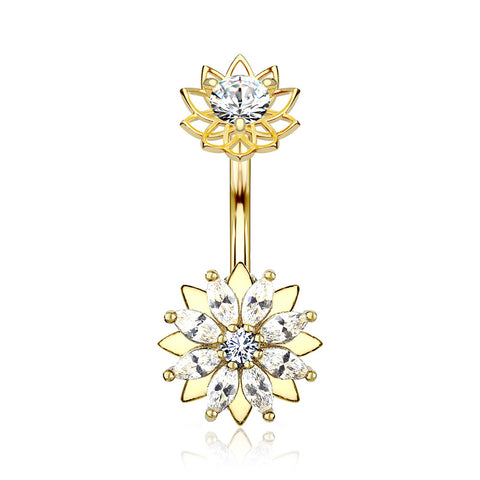 Golden Marquise Sparkle Flower Internally Threaded Belly Button Ring-Clear