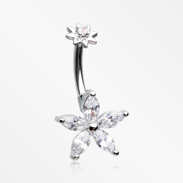 Brilliant Marquise Spring Flower Sparkle Internally Threaded Belly Button Ring-Clear