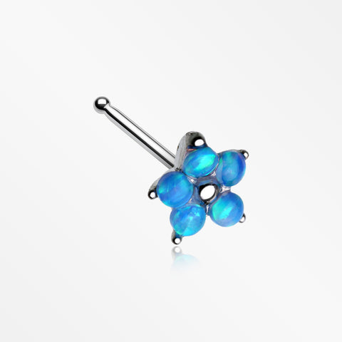 Fire Opal Spring Flower Sparkle Nose Stud Ring-Blue Opal