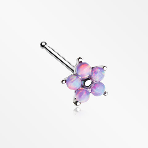 Fire Opal Spring Flower Sparkle Nose Stud Ring-Purple Opal