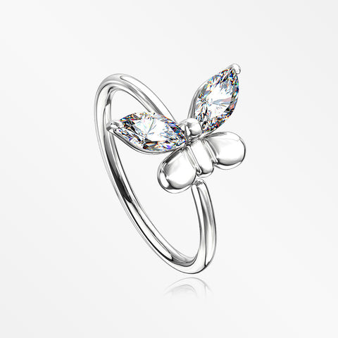 Butterfly Marquise Sparkle Bendable Hoop Ring-Clear