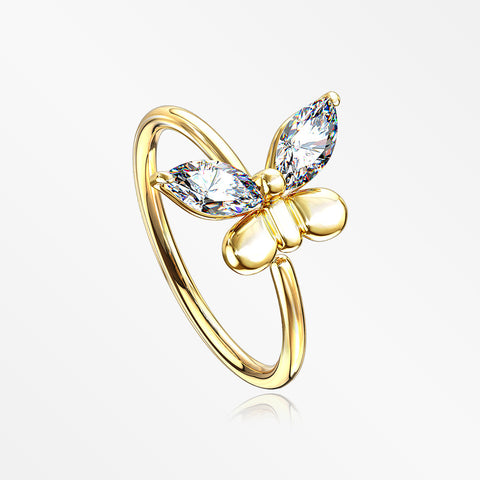 Golden Butterfly Marquise Sparkle Bendable Hoop Ring-Clear