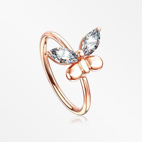 Rose Gold Butterfly Marquise Sparkle Bendable Hoop Ring-Clear
