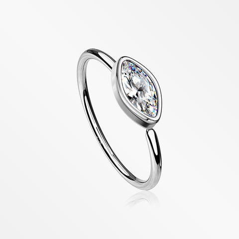 Brilliant Marquise Bezel Set Sparkle Bendable Hoop Ring-Clear