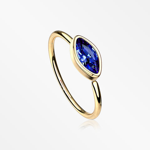 Golden Brilliant Marquise Bezel Set Sparkle Bendable Hoop Ring-Blue