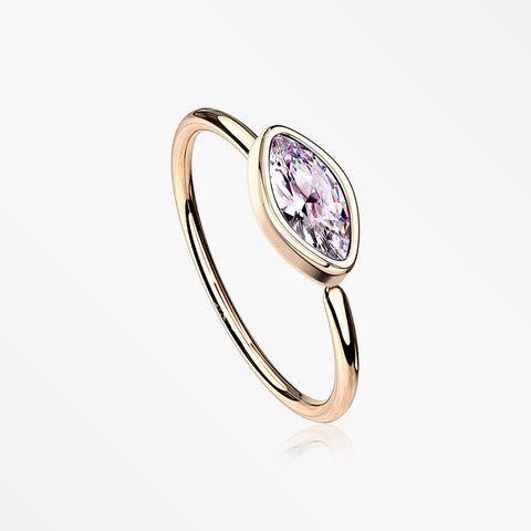 Rose Gold Brilliant Marquise Bezel Set Sparkle Bendable Hoop Ring-Pink