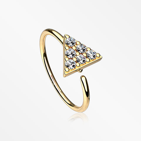 Golden Triangle Multi-Gem Sparkle Bendable Hoop Ring-Clear