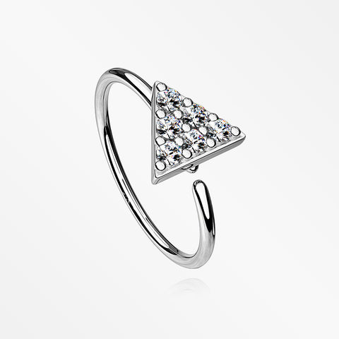 Triangle Multi-Gem Sparkle Bendable Hoop Ring-Clear