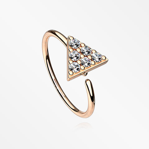 Rose Gold Triangle Multi-Gem Sparkle Bendable Hoop Ring-Clear