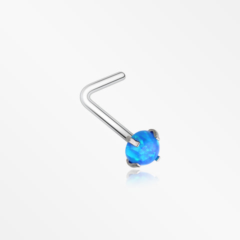 Fire Opal Sparkle Prong Set L-Shaped Nose Ring-Blue Opal