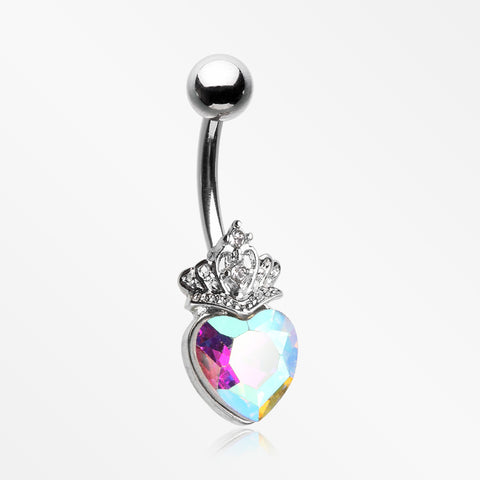 Crystal Heart Tiara Sparkle Belly Button Ring-Aurora Borealis