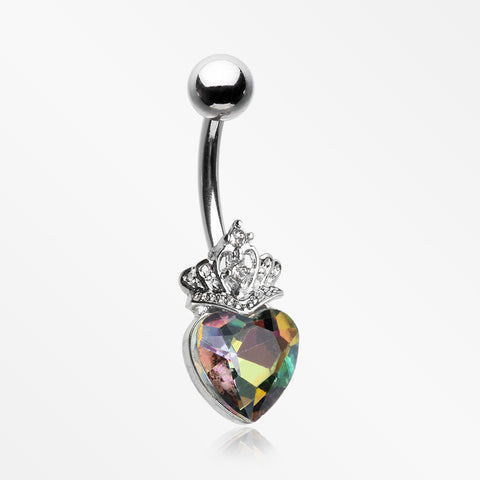 Crystal Heart Tiara Sparkle Belly Button Ring-Vitrail Medium