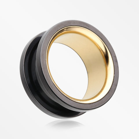 A Pair of Golden Black Screw-Fit Eyelet Tunnel Plug