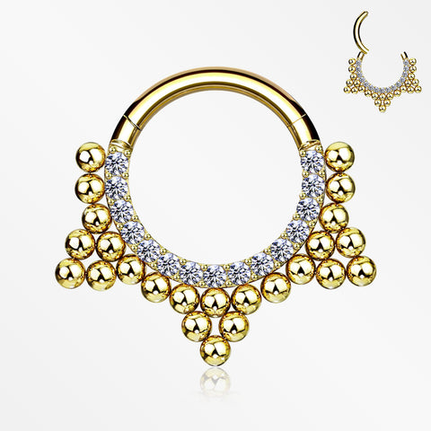 Golden Royal Bali Beads Trine Sparkle Seamless Clicker Hoop Ring-Clear