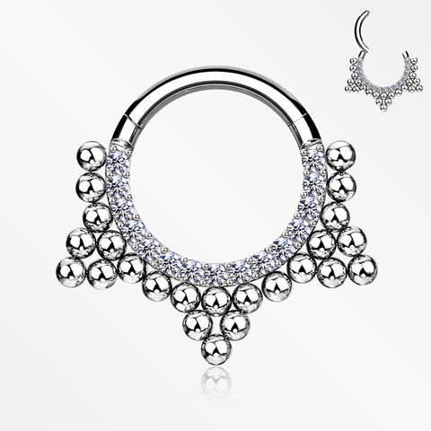 Royal Bali Beads Trine Sparkle Seamless Clicker Hoop Ring-Clear