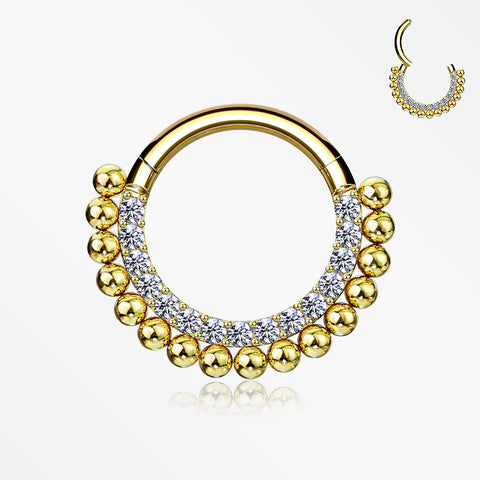 Golden Royal Bali Beads Arc Sparkle Seamless Clicker Hoop Ring-Clear