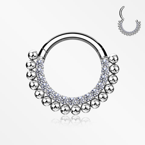 Royal Bali Beads Arc Sparkle Seamless Clicker Hoop Ring-Clear