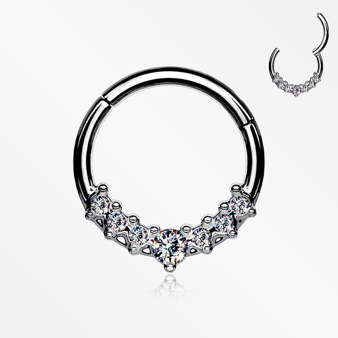 Sparkle Princess Journey Seamless Clicker Hoop Ring-Clear
