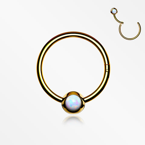 Golden Fire Opal Sparkle CBR Style Seamless Clicker Hoop Ring-White Opal