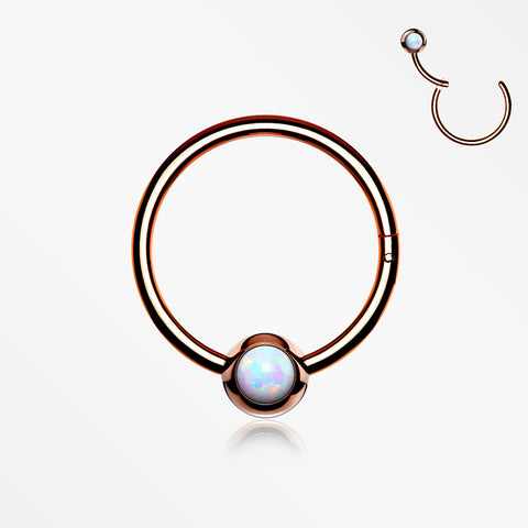 Rose Gold Fire Opal Sparkle CBR Style Seamless Clicker Hoop Ring-White Opal