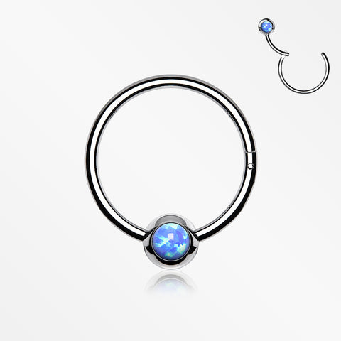 Fire Opal Sparkle CBR Style Seamless Clicker Hoop Ring-Blue Opal