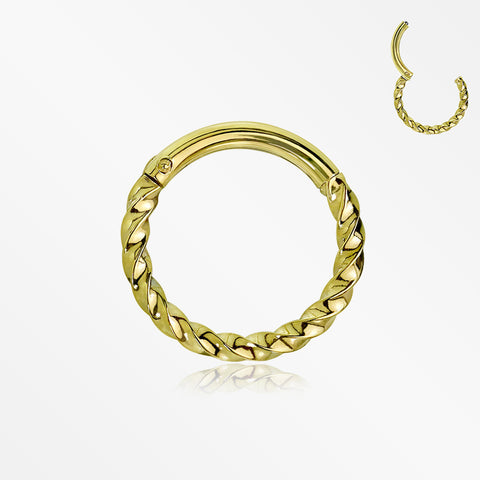Golden Twisted Metal Seamless Clicker Hoop Ring