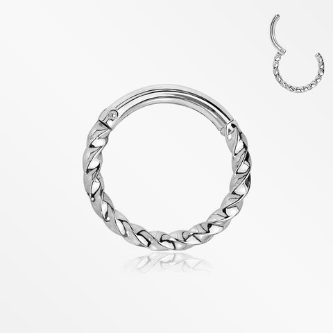 Twisted Metal Seamless Clicker Hoop Ring