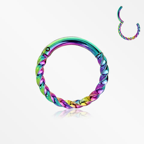 Colorline Twisted Metal Seamless Clicker Hoop Ring