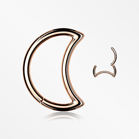 Rose Gold Crescent Moon Seamless Clicker Hoop Ring