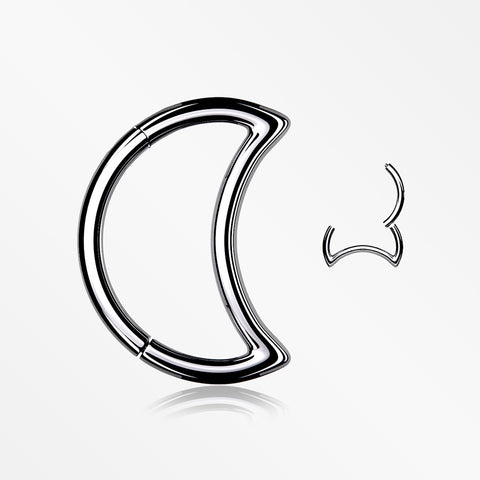 Crescent Moon Seamless Clicker Hoop Ring