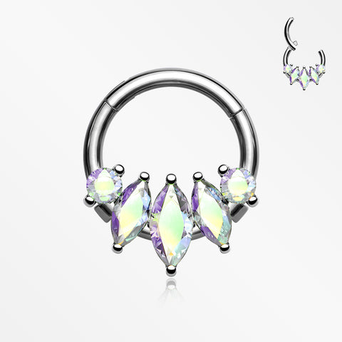 Marquise Floral Sparkle Gem Seamless Clicker Hoop Ring-Aurora Borealis