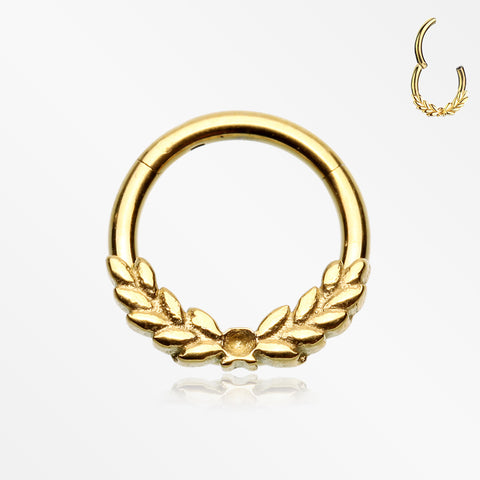 Golden Laurel Wreath Seamless Clicker Hoop Ring
