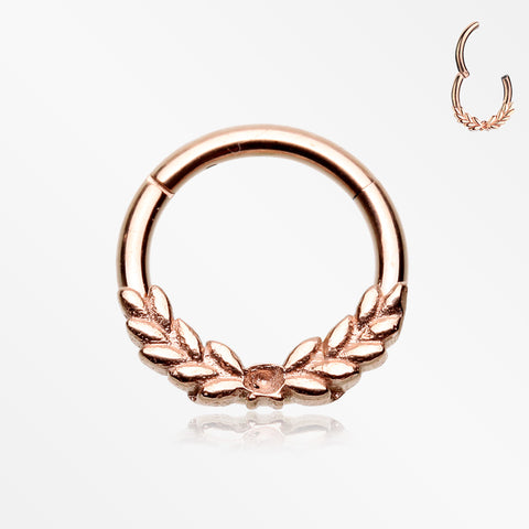 Rose Gold Laurel Wreath Seamless Clicker Hoop Ring