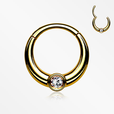 Golden Sparkle Eclipse Seamless Clicker Hoop Ring