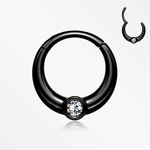 Blackline Sparkle Eclipse Seamless Clicker Hoop Ring