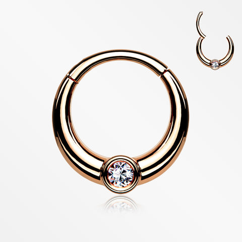 Rose Gold Sparkle Eclipse Seamless Clicker Hoop Ring