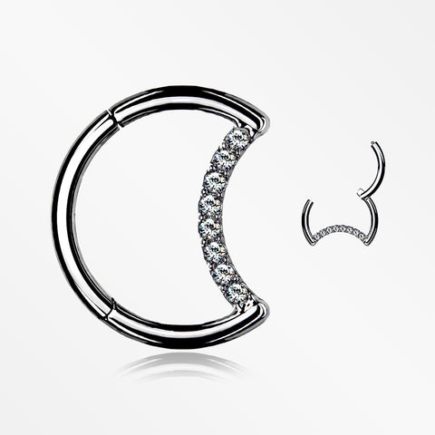 Implant Grade Titanium Crescent Moon Sparkle Seamless Clicker Hoop Ring-Clear