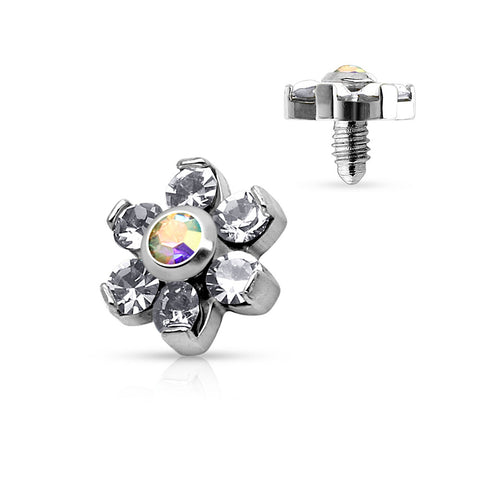 Crystal Flower Prong Set Sparkle Steel Dermal Anchor Top-Clear