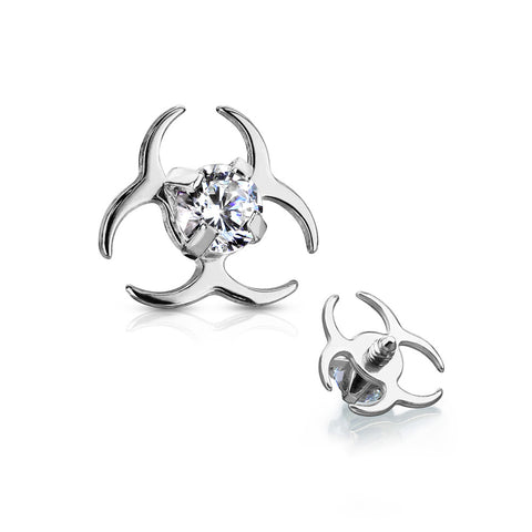 Biohazard Sparkle Dermal Anchor Top-Clear