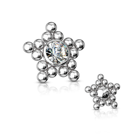 Bali Bead Star Sparkle Dermal Anchor Top-Clear