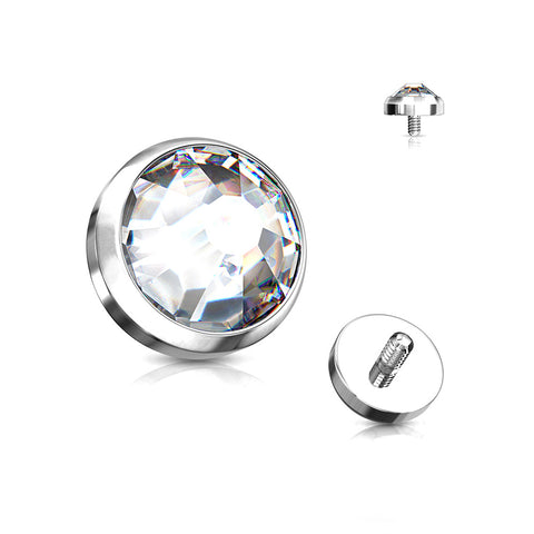 Implant Grade Titanium Sparkle Gem Set Flat Dome Dermal Anchor Top-Clear