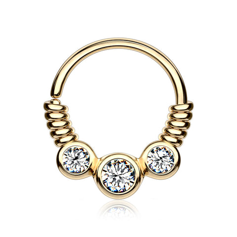 Golden Trine Essence Sparkle Bendable Seamless Hoop Ring-Clear