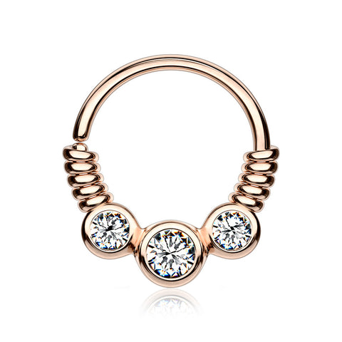 Rose Gold Trine Essence Sparkle Bendable Seamless Hoop Ring-Clear