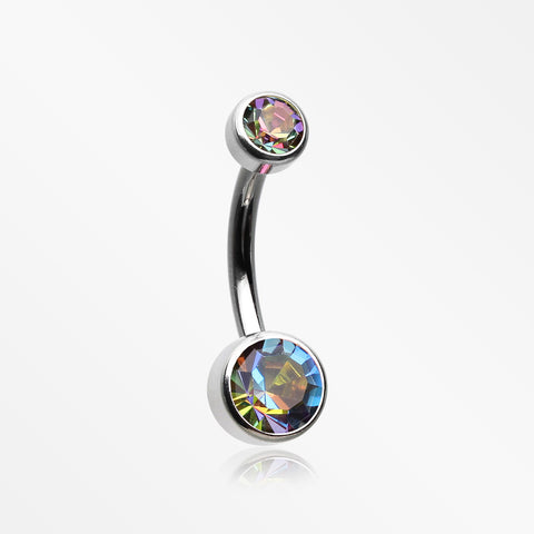 Implant Grade Titanium Internally Threaded Bezel Set Gem Belly Button Ring-Vitrail Medium