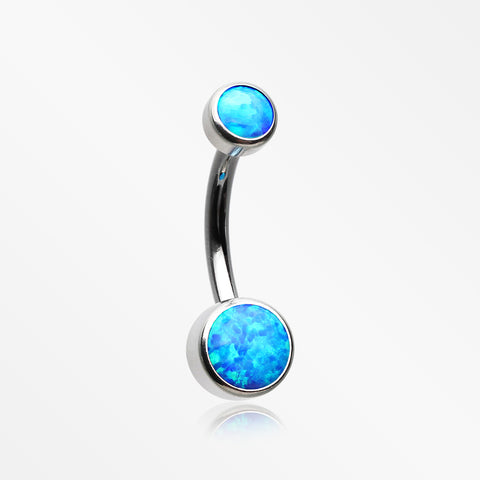 Implant Grade Fire Opal Titanium Internally Threaded Bezel Set Belly Button Ring-Blue