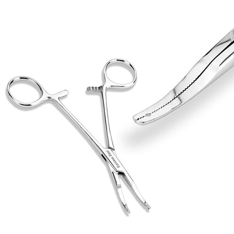 Micro Thin Tip Dermal Anchor Kelly Forceps (2mm hole)