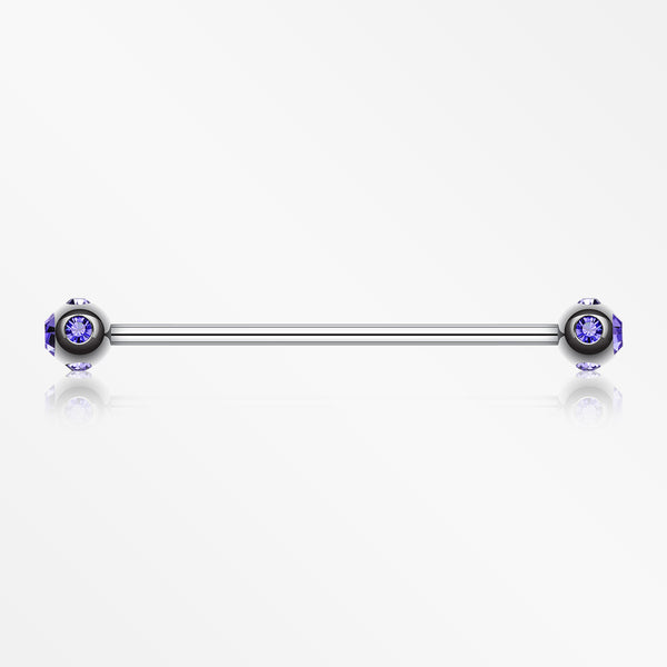 Aurora Gem Ball Industrial Barbell-Tanzanite
