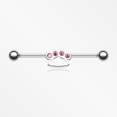 Brass Knuckles Industrial Barbell-Pink
