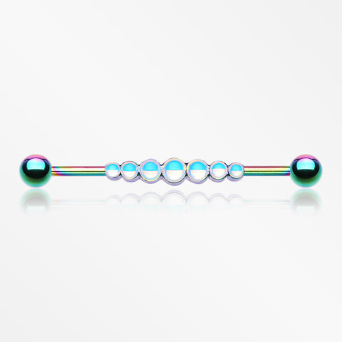Colorline Iridescent Revo Dazzling Row Sparkle Industrial Barbell-Rainbow